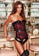 Satin And Lace Corset Red/blk S