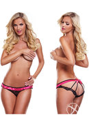Secrets Vibrating Open Back Panty Black/pink