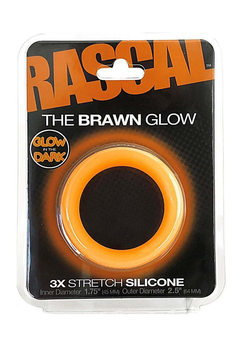 Rascal The Brawn Glow 3x Stretch Silicone Cock Ring Glow In The Dark Orange