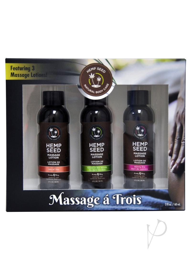 Hemp Seed Natural Body Care Massage A Trois Lotion Gift Set